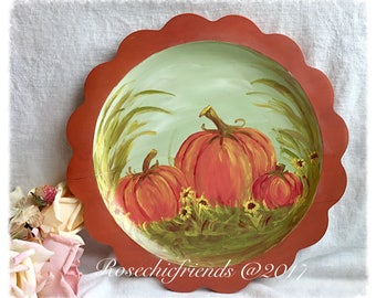 Painting Pumpkin Original Art Acrylic Wood Charger Plate Farmhouse Wall Decor  Ecs svfteam