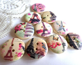 10 Eiffel Tower Paris Buttons Wood Buttons 3/4 Inch for Sewing Scrapbooking