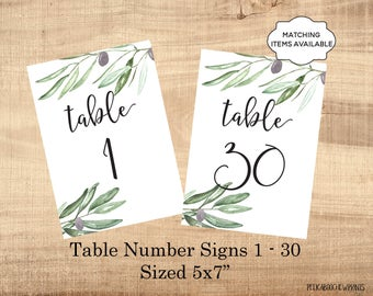 Table Number Signs Printable 5x7 Wedding Table Marker 1-50 Banquet Party Dinner Luncheon Benefit Table Identifier Olives Boho Leaves PCOLWS