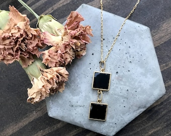 Bohemian Layering Pendant - Personalized Resin Jewelry - Layering Necklace - Black & Gold - Custom Jewelry - Bridesmaid Gift - Gift for Her