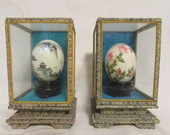 Hand Painted Eggs, Set of Two, Display Boxes, Japan