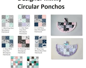 Designer Ponchos - Patchwork Ponchos - Round Ponchos - Minky Ponchos - Child Ponchos - Woodland Poncho -  Baby PONCHO- Car Seat Safe-