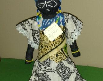 """Beautiful 12"""" handmade cloth doll from Senegal"""