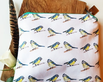 Bluebird Zippered Makeup Bag | Pouch | Zip Pouch | Wash Bag | Girls Pouch