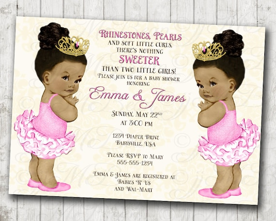 Twin Girls Baby Shower Invitation For Twins Princess