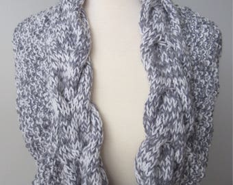 Grey and White Cable Knit Infinity Scarf