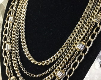 Multi Strand Gold Tone Metal Chain Necklace Beaded Chain Large Small Links Five Strands Circa 1950's 1960's Unsigned Classic Elegant Design