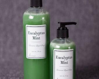 Eucalyptus Mint Liquid Soap, Liquid Hand Soap, Natural Liquid Soap, Handmade Liquid Soap, Liquid Soap, Hand Soap, Body Wash, Natural Shampoo