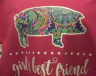 Girl's Best Friend Pig **LILLY PULITZER INSPIRED print***