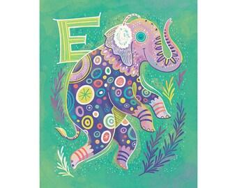 E is for Elephant wearing Earmuffs: Alphabet Animals illustration art print