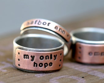 Personalized Custom Stamped Silver and Copper Band Ring (E0232)