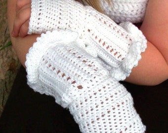 PDF PATTERN White Ruffle Crochet Fingerless Gloves (Teen/Adult size)