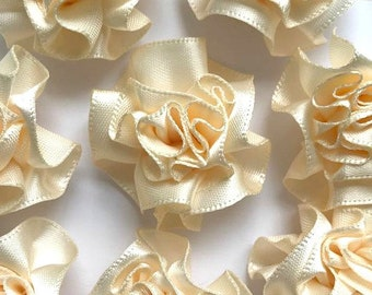 4 Large Ivory Ribbon Ruffle Roses Rosettes Flowers 3.5cm  - Card Making Embellishments Craft Sewing