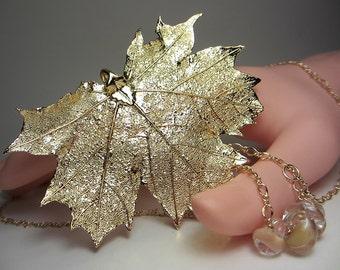 Genuine Maple leaf Necklace Maple leaf Pendant 14K Gold Filled  Necklace Nature Necklace Real Maple leaf Necklace Unusual Gift for Her