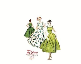 2000 Vintage Sewing Pattern - Butterick 4513 - Retro Dress Full Skirt