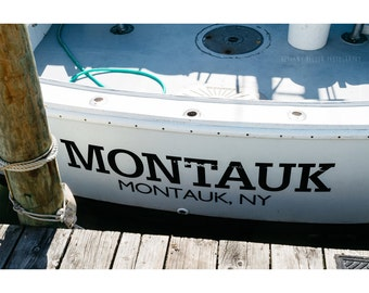 Montauk New York Photography Nautical Decor Boat Photo Fishing Marina Coastal Art Beach Typography Print Fine Art Whimsical The Hamptons