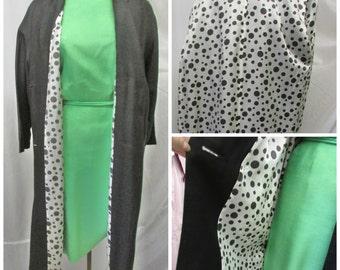 Vintage 1960's Rain Coat Black Double Breasted Duster Lightweight Dress Coat Black & White Polka Dot Lining