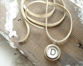 Typewriter Key Jewelry. Letter D Necklace. Vintage Typewriter Key Necklace. Personalized Initial. Adjustable Leather Necklace. Unisex Gift.