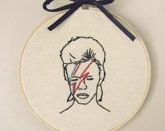 David Bowie embroidered hoop. FREE DELIVERY