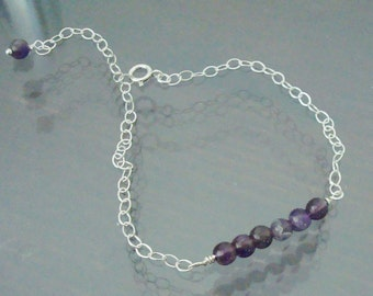 Small Round Purple Amethyst Wire Wrapped Bar Sterling Silver Bracelet ~Thin, Feminine and Delicate ~Bridaly Party ~~FEBRUARY BIRTHSTONE~~