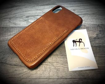 NEW iPhone X 8 7 6s Se 5s New Leather Back Case with 2 credit card Slots VERTICAL colour and device to CHOOSE
