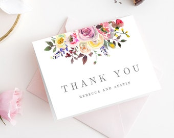 Flat or Tented Thank You Cards Editable Template - Simply Pretty Wedding or Bridal Thank You Cards #SPC
