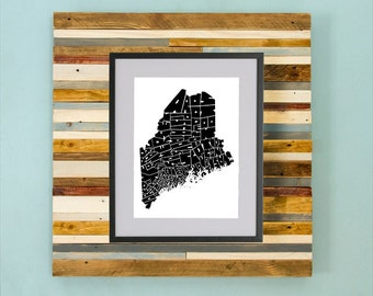 Maine County Map - Hand Drawing