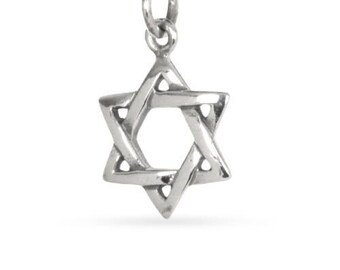 Charm Star Of David Sterling Silver 18.5x10.6mm  - 1pc Wholesale Price (11249)/1