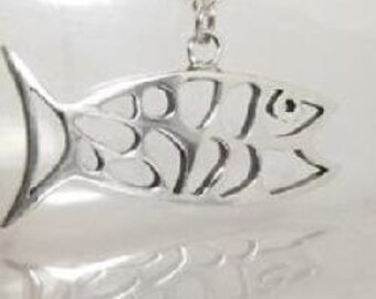 "Sterling Silver Open Design (92.5) Fish Pendant on 20"" Chain"