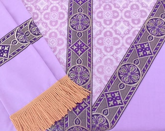Purple Chasuble & Stole Set. Embellishments: Purple and Metallic Gold Thread Galloon, Traditional Y-Cross, Mauve Brocade feature. Beautiful!