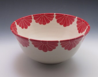 Pottery serving bowl / large ceramic bowl with red flower design