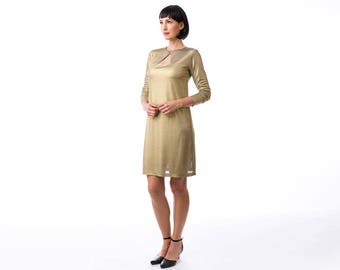 Gold  dress, jersey dress , winter dress, Long Sleeve Dress, Fashion Dress, Womens Winter Dresses