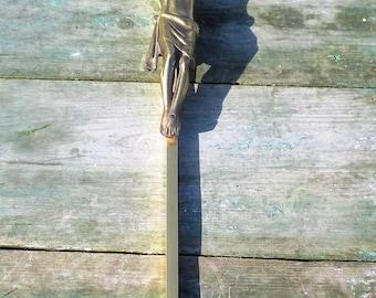 Tall Brass Hanging Crucifix Cross Jesus Christ