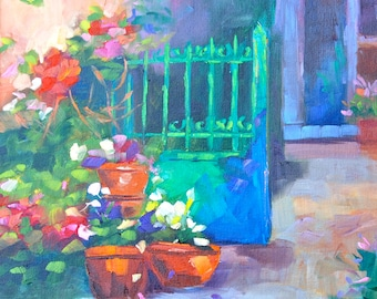 French Art Blank NOTE CARDS - of Original Oil Painting of French Garden By Rebecca Croft