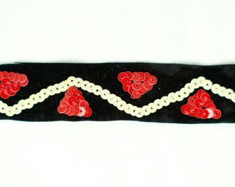 22yds Black Velvet Ribbon with Red & Cream Sequin Embroidery