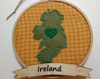 "4"" Ireland Embroidery Hoop Ornament"