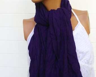 Crinkle Scarf Purple Grape 70 x 38