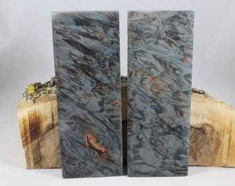 2 pcs Dyed Stabilized Maple Burl Knife Scales (118)