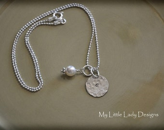 Sweet Initial Keepsake -  Hammered Personalized Hand Stamped Sterling Silver Necklace
