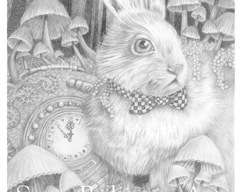 Always Late to the Party, Printable Coloring Page, grayscale coloring, Alice in Wonderland, White Rabbit, Instant Download