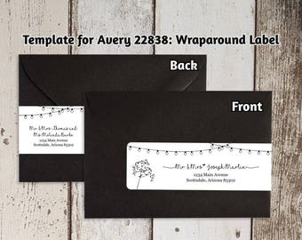 Printable address template for envelope labels avery 2 x printable address template for envelope wraparound labels avery 22838 rustic handwriting wrap around instant download digital file pdf maxwellsz