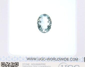 Aquamarine - Certified Oval Faceted 7.68ct Blue Transparent Aquamarine 16x12mm Loose Gemstone