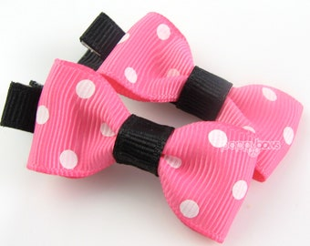 Baby Hair Clips - Hot Pink Black White Polka Dots Little Bow Clips - Matching Pair for Babies Toddlers No Slip Alligator Clips AP