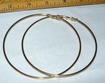 """Vintage Gold Tone 3 1/2"""" Hoop Earrings"""