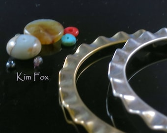 8 inch Oval Shaped Wave Edge Bangle in Golden Bronze designed by Kim Fox