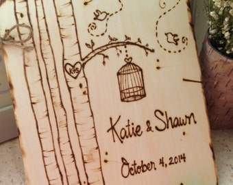 Wedding Guest Book LoveBirds Birdcage Personalized Bride & Groom Names Date Rustic Romance Cottage Chic Farm Barn Love Birds Advice Wishes