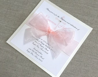 Girl Communion Invitation First Communion Girl Invitation Peach