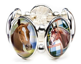 Horse Five-Cameo Stretch Bracelet