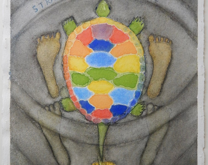 "Watercolor painting entitled ""Straddle the Turtle #6"""