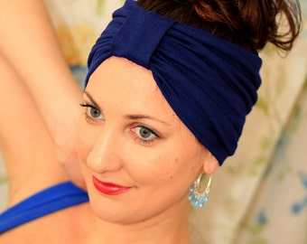 Turban Headband - Hair Warp in Navy Blue Jersey Knit - Boho Style Wide Headbands - 24 Colors